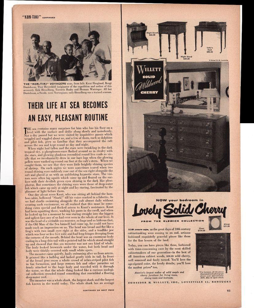 Solid Cherry Bedroom Furniture Willett Solid Wildwood Cherry Bedroom Furniture 1950 Antique