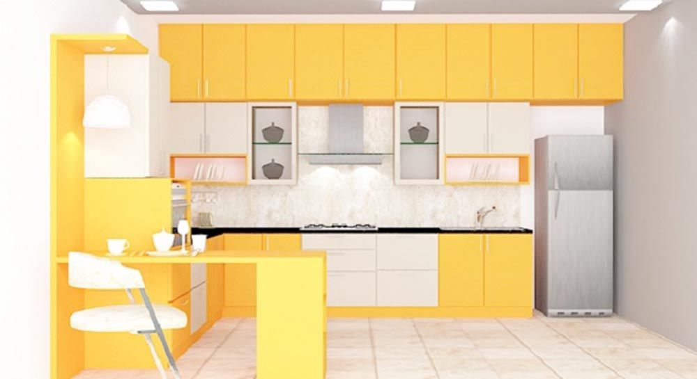 Buy Marigold L  Shaped Kitchen With Laminate Finish Online In Amusing Kitchen Designs Online Decorating Design