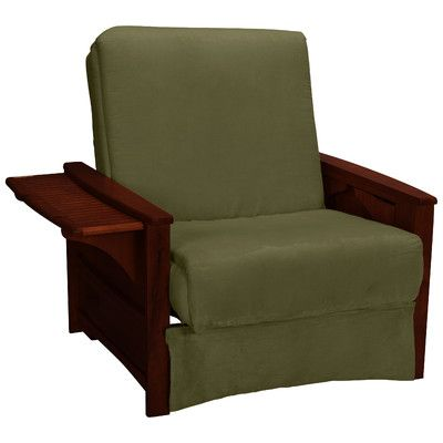 Epic Furnishings LLC Valet Perfect Sit and Sleep Futon Chair Upholstery: Suede - Olive Green, Finish: Mahogany