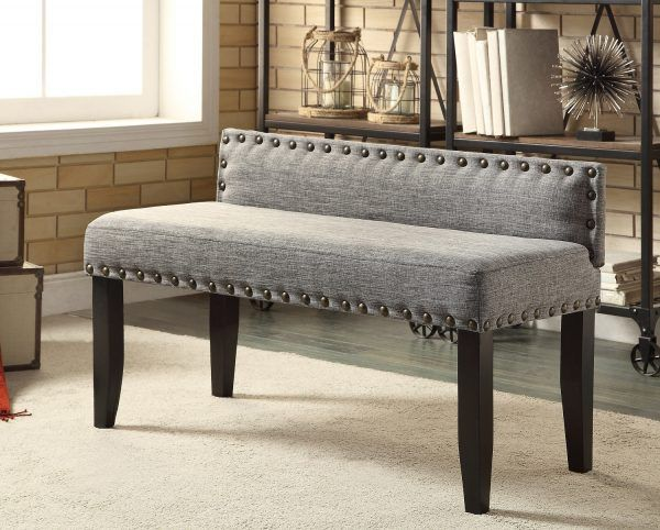 low profile back rest solid wood linen upholstered bench with gold ...