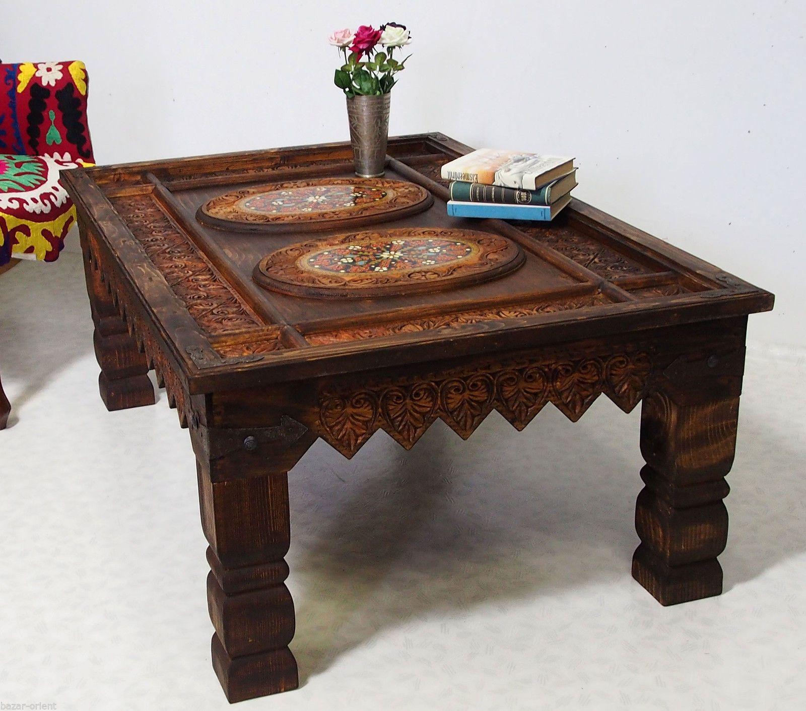 130x87cm Antik Kolonial Wohnzimmertisch Tischtruhe Tisch Couchtisch