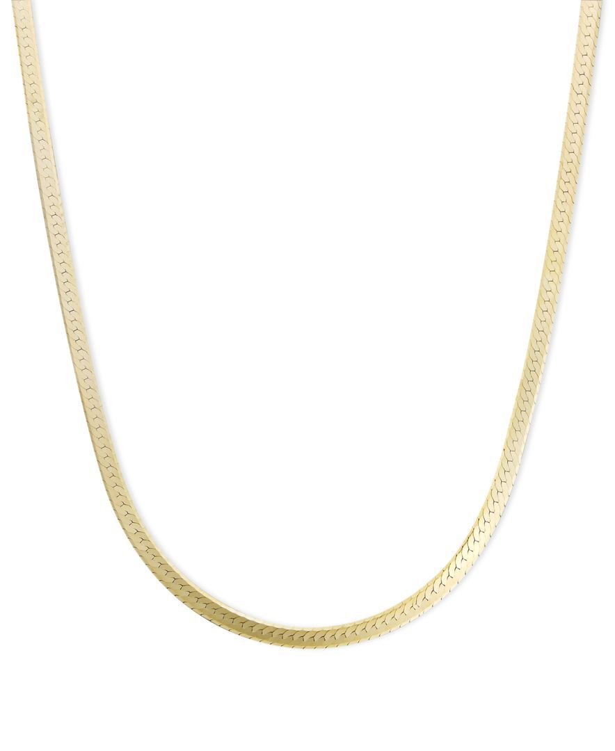 c66954839558 Necklace features a flat herringbone chain crafted in 14k gold. Approximate  length  18 inches.