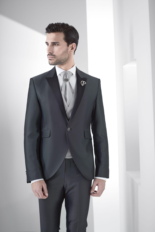 Abito Matrimonio Uomo Grigio : Abiti da cerimonia grigio con rever nero fashion in