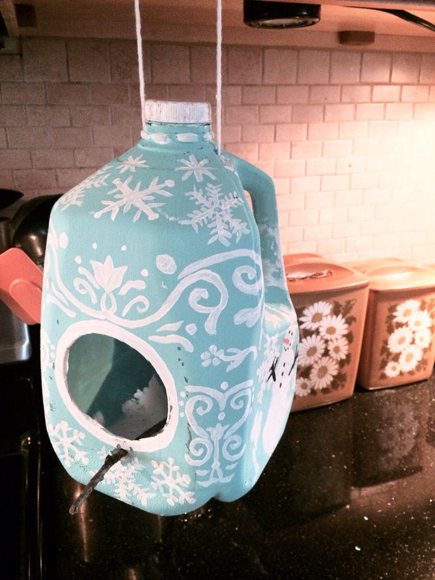 Winter bird feeder made from a milk jug Milk jug crafts
