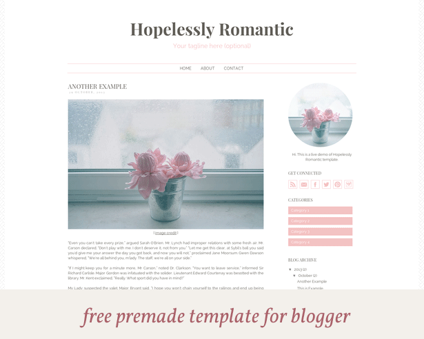 free premade blogger template