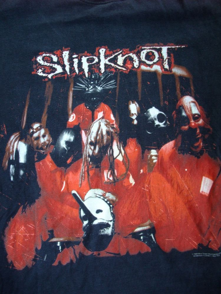 Rare 1999 Slipknot Band T Shirt Heavy Metal Xl Cotton Black Blue Grape Band Tshirts Slipknot Band Heavy Metal