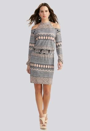 Cato Fashions Mixed Stripe Cold Shoulder Blouson Dress Catofashions
