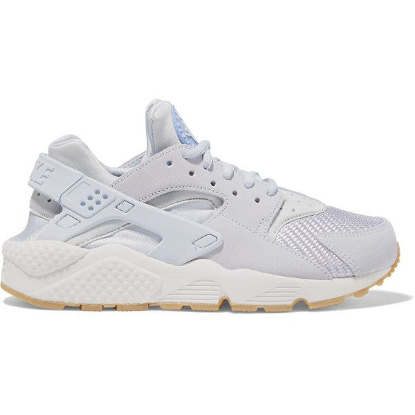 Nike Air Huarache Run suede, mesh and rubber sneakers, Women's, Size:... (€120) ❤ liked on Polyvore featuring shoes, sneakers, nike, woven shoes, rubber footwear, nike shoes, lilac shoes and suede shoes