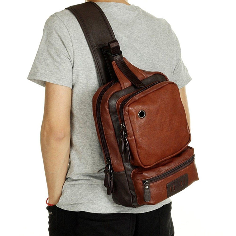 df7eea9188d5 Men's Leather Front Sling Backpack Satchel Shoulder Bag Chest Cycle ...