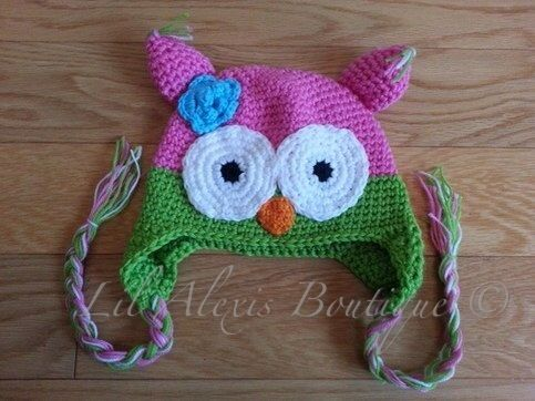Pink green crochet owl hat for baby newborn by LilAlexisBoutique, $15.99