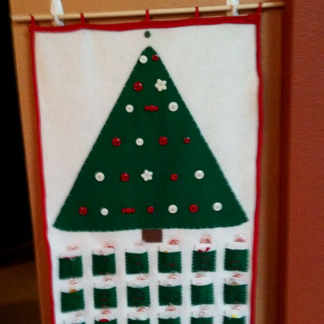 My homemade custom advent calendar. I have hand stitched felt ornaments in each pocket that will be hung on the tree.
