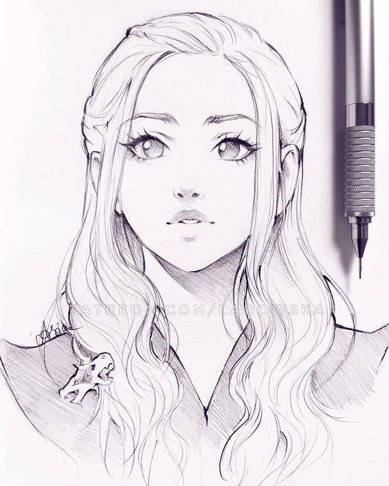 Asia Ladowska Art Face Drawing Girl Sketch Anime Drawings Sketches Sketches Art Sketches