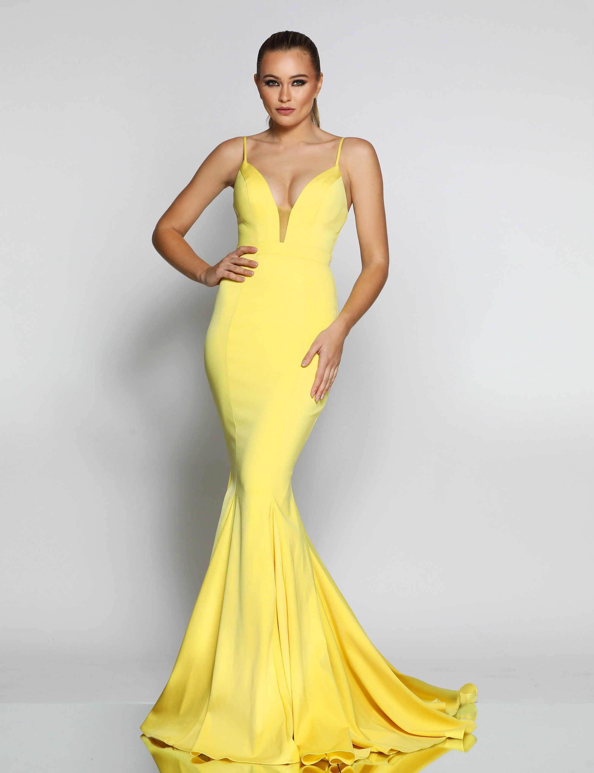 027b2d9404f Jx1050 yellow fitted mermaid long dress with deep sweetheart - Mia Bella  Couture