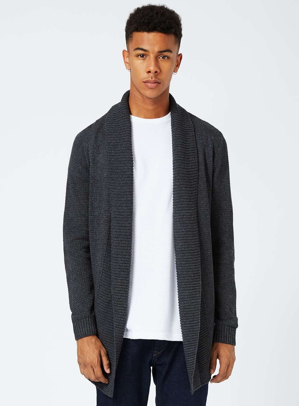 Grey Longline Textured Cardigan