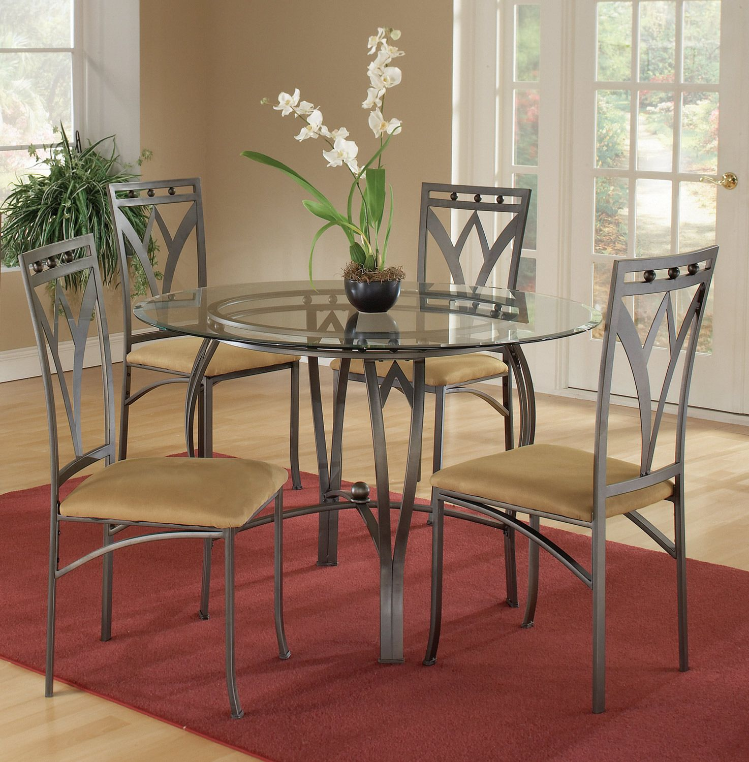 Arrowhead 5 Piece Dinette Table And 4 Chairs Round Metal Dining Table With Arched Stretcher And Lay On Glass Muebles De Metal Mesas De Vidrio Muebles Finos