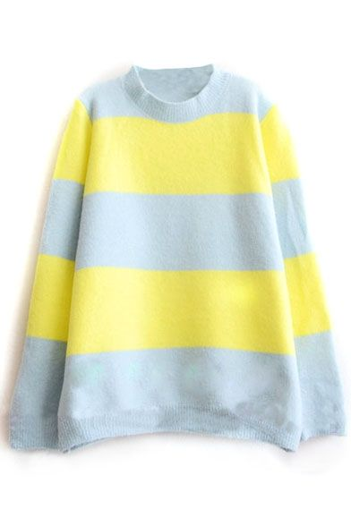 High neck Stripes Color Block Long Sleeve Sweater | Color blocking ...