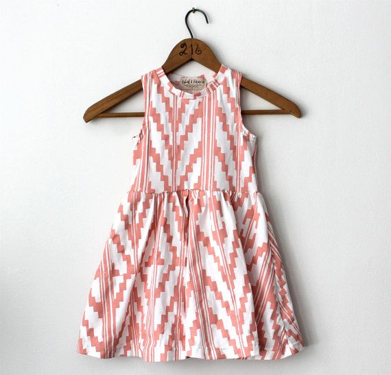 Hand Printed Organic Twirling Dress in Peach by thiefandbanditkids, $56.00