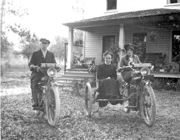 Man and woman and a sidecar on Indian motorcycles (191-) | Florida Memory