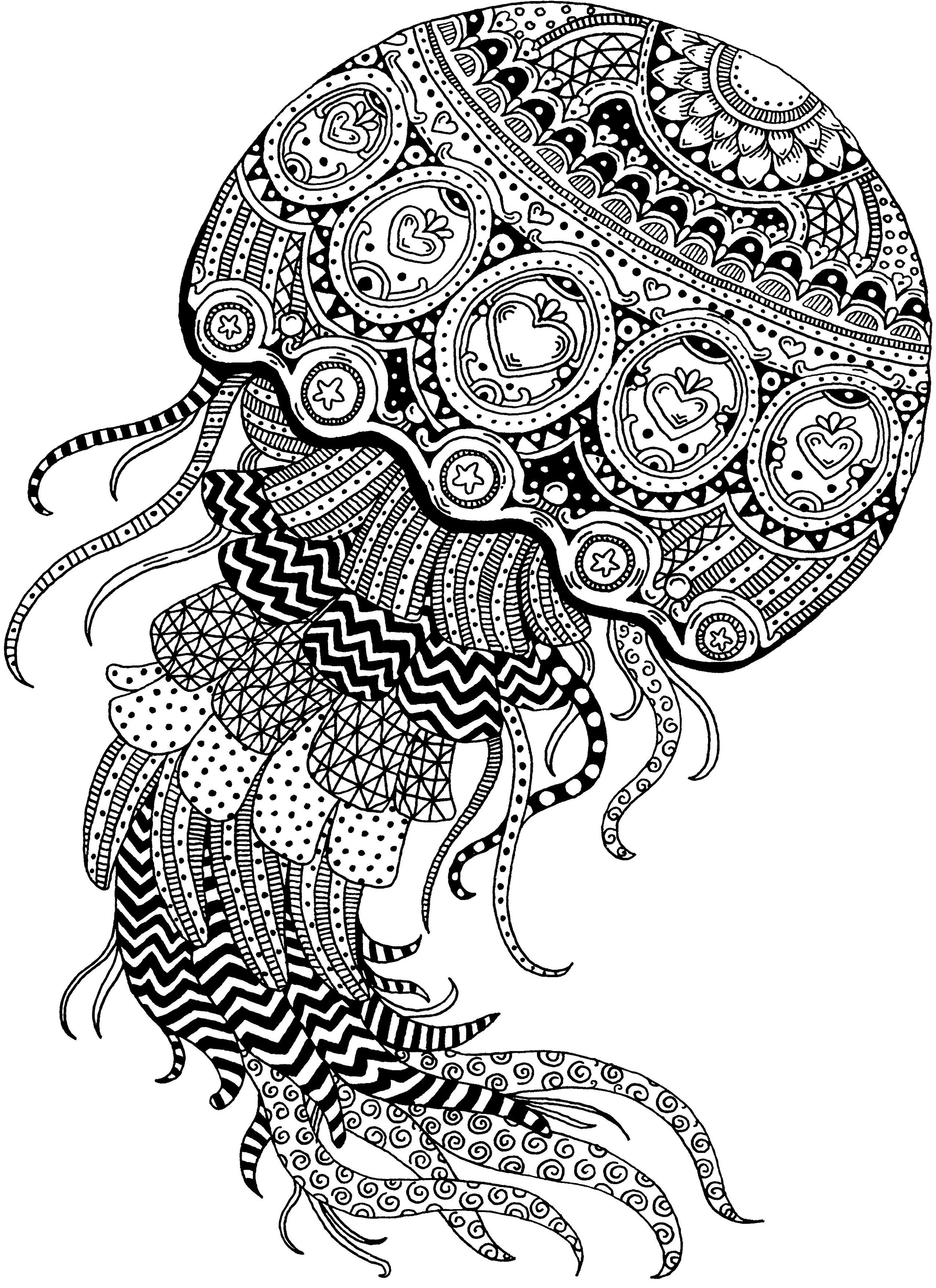 Ornate Moon Jellyfish Zentangle Traditional - Ink Janelle
