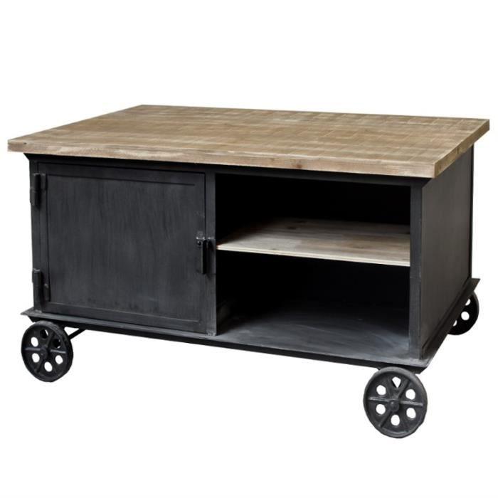 Très jolie table basse industrielle Cette table de salon en métal - Roulette Porte De Placard Coulissante