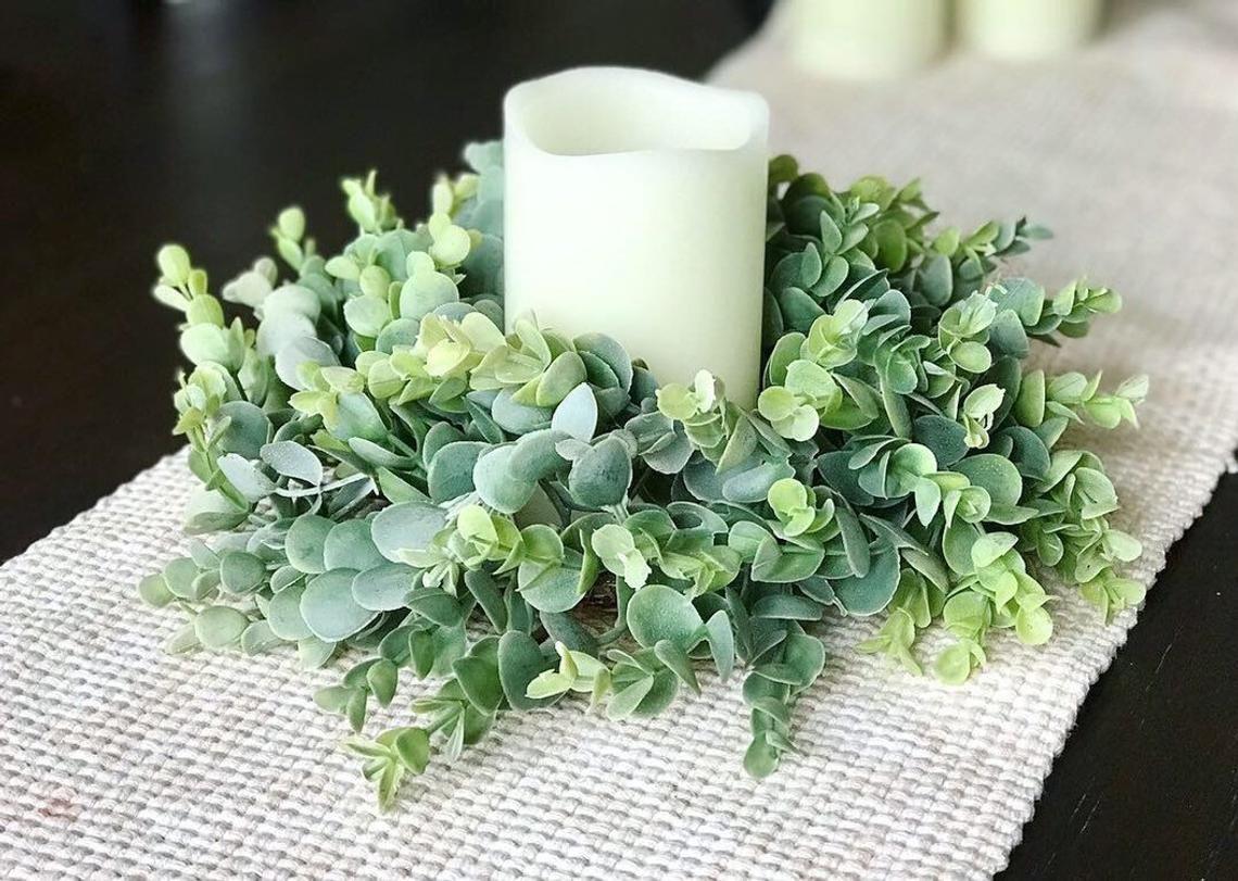 Photo of Frosted Eucalyptus Wreath, Mini Farmhouse Wreath, Greenery Wreath, Year Round Wreath, Wall Decor, Gallery Wall, Spring Wreath, Candle Wreath