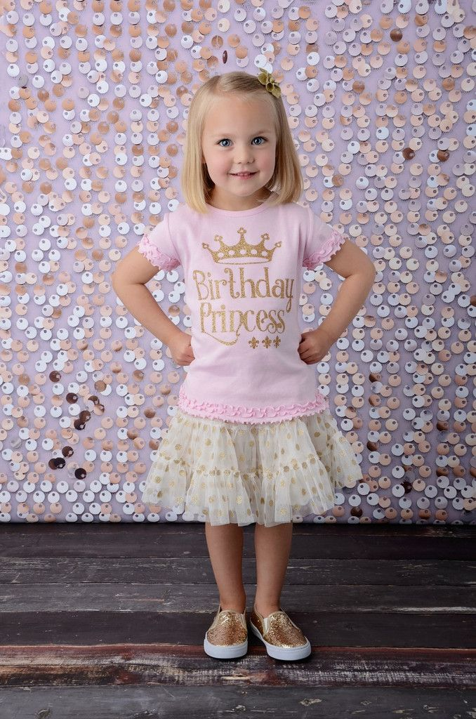 Birthday Princess Girly Gold Glitter Tee