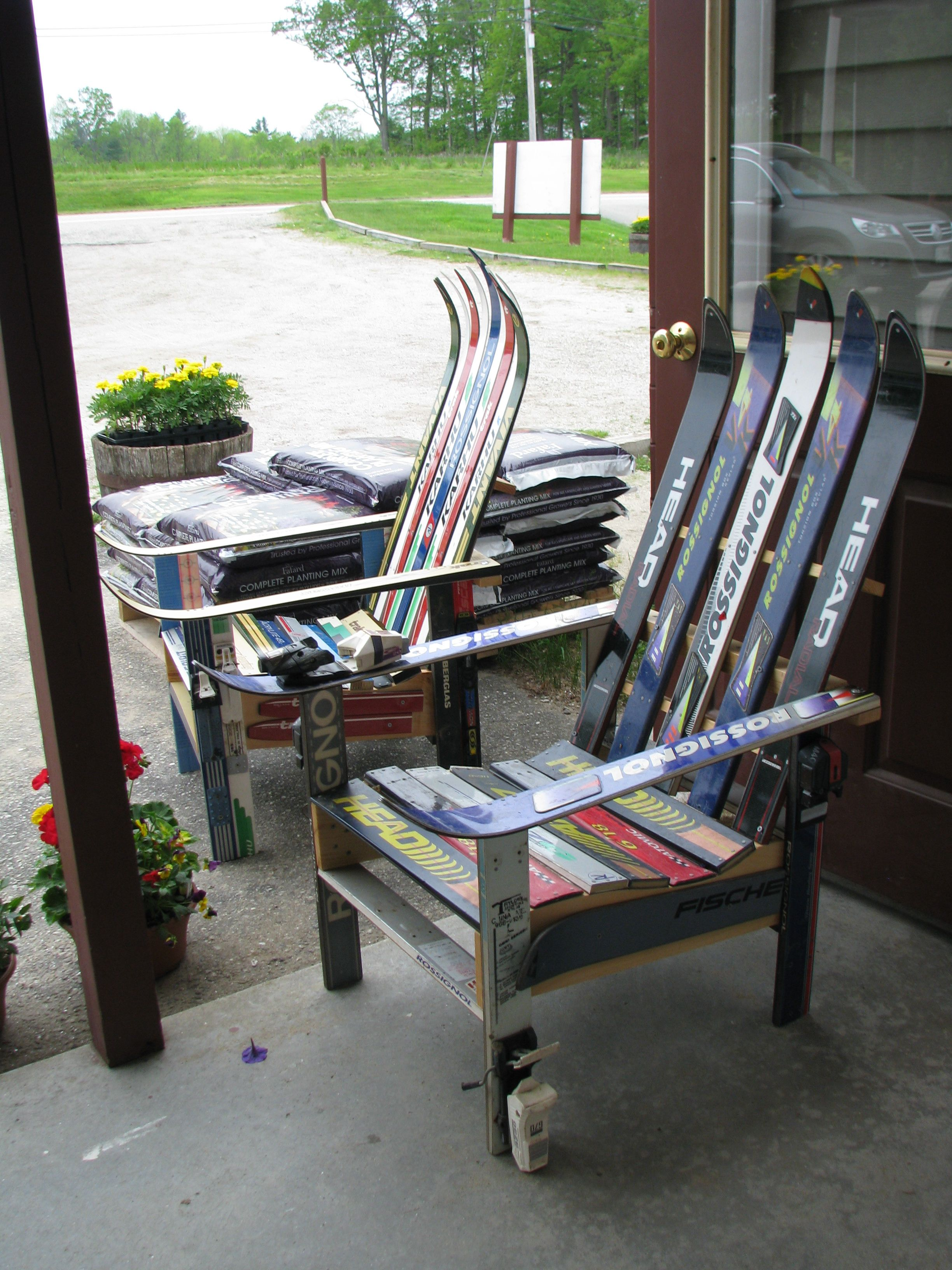 Upcycled ski chairs in Oxford, Maine farm stand. Maine