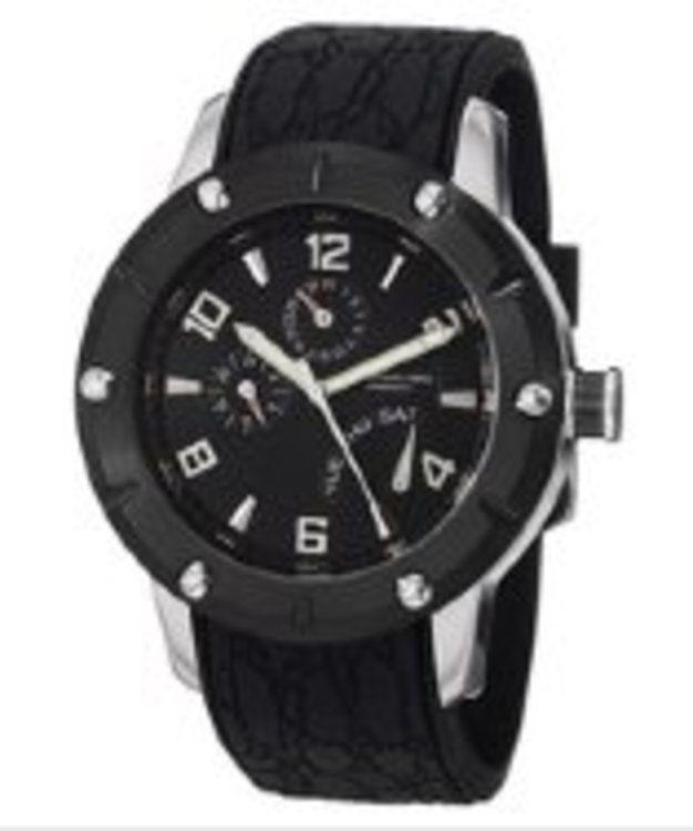 Stuhrling Original Men's Swiss Quartz Torino Lista Black Dial Black Rubber gifters.com Stuhrling Watches