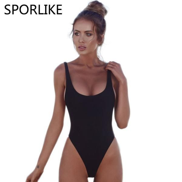 f5a54e5864903  FASHION  NEW SPORLIKE 2018 Sexy One Piece Swimsuit High Cut Swimwear Women  Swimsuit Solid Bandage Bathing Suits Beach Wear Swim Monokini