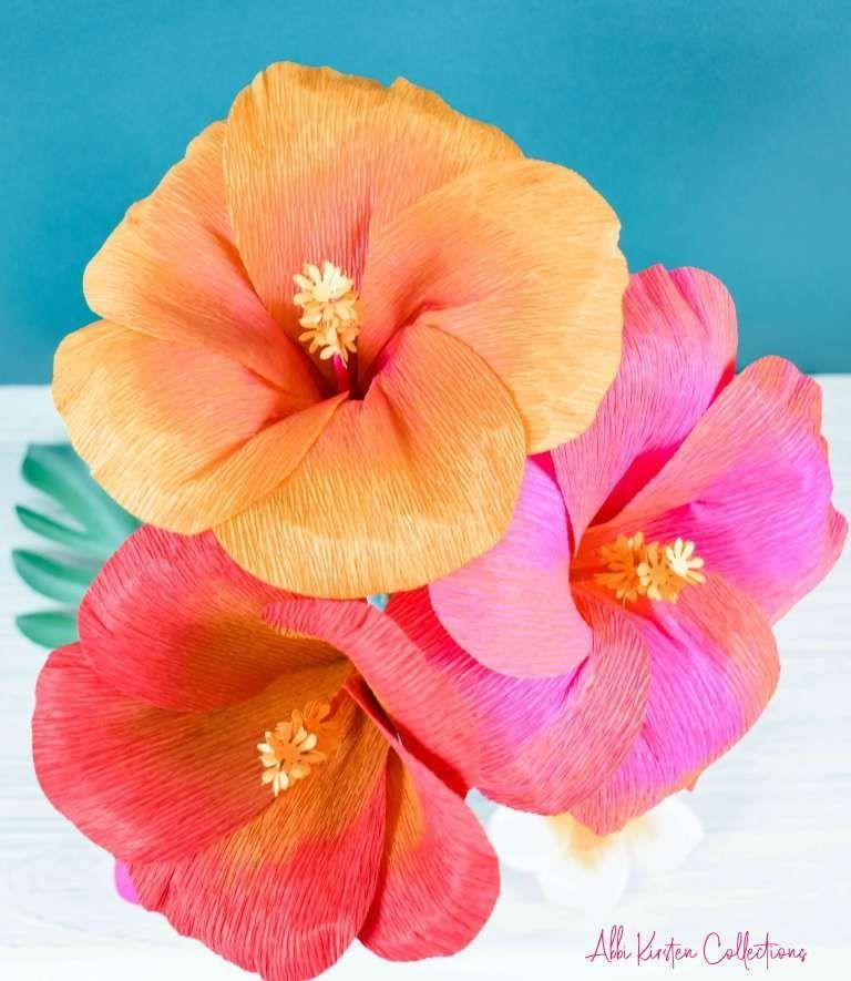 Diy Hibiscus Flower Template How To Make Crepe Paper Flowers Crepe Diy Flower Flowers Hibiscus Pape In 2020 Paper Flowers Paper Flower Template Paper Flowers Diy