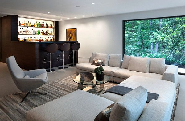 schicke hausbar ideen für ihr zuhause sofa grau kissen couchtisch, Wohnzimmer dekoo