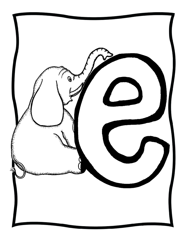 e is for Elephant coloring | Elephant Theme | Pinterest | Preschool ...