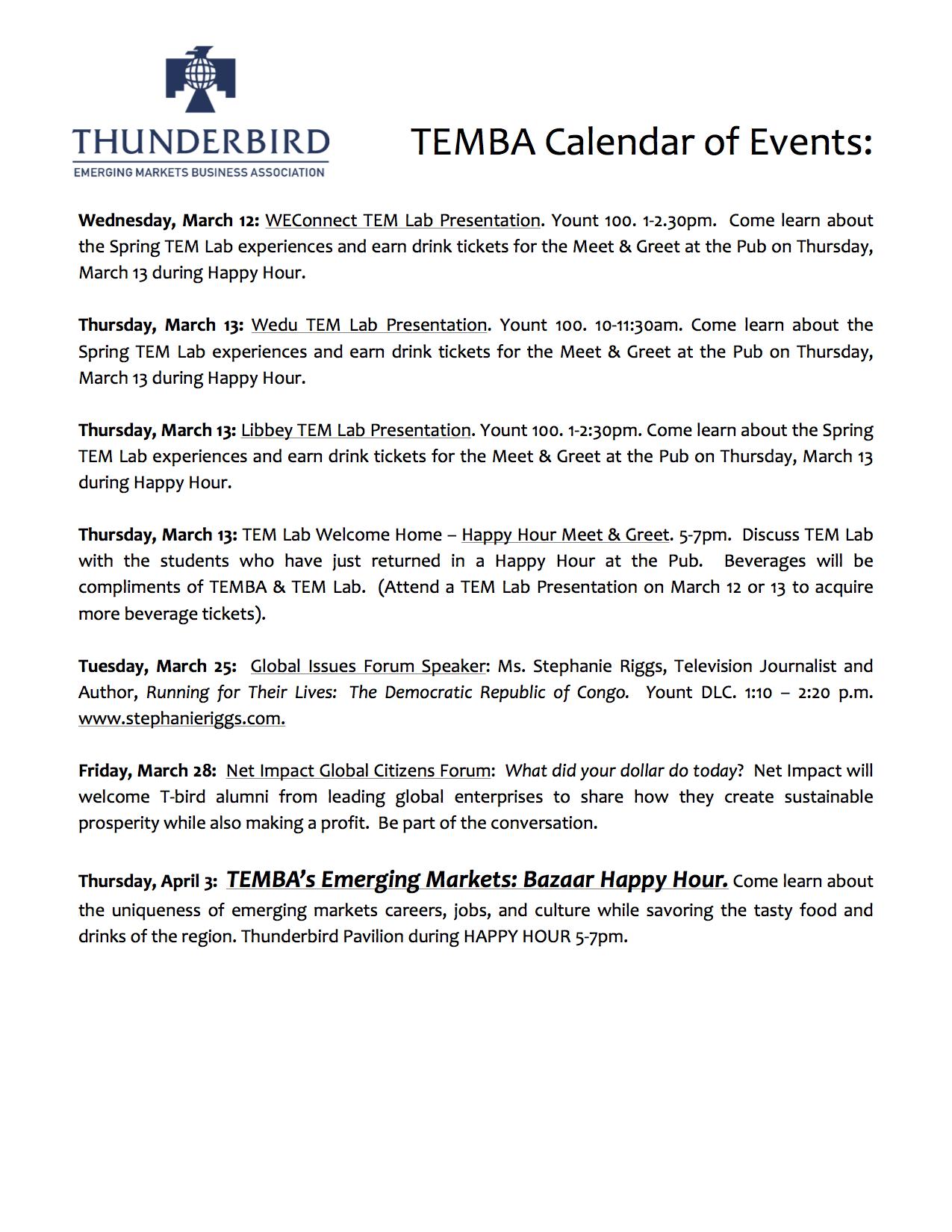 #TbirdLife #TEMBA Calendar of Events for Spring 2014