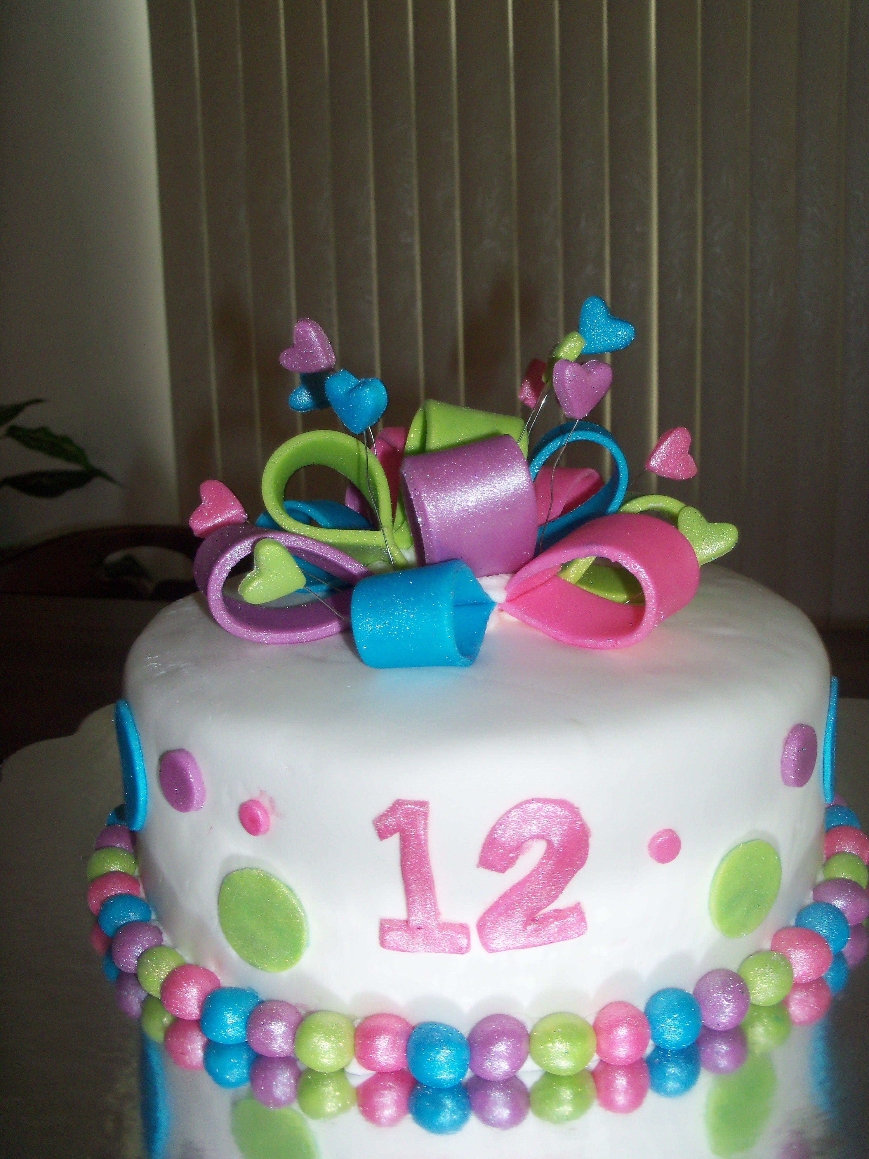 Girlie 12th Birthday Cake 12th Birthday Cake Anniversary Cake