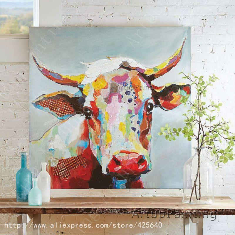 Vache peinture l 39 huile sur le mur de toile animaux peintures pour mur du salon art toile for Peinture pour mur