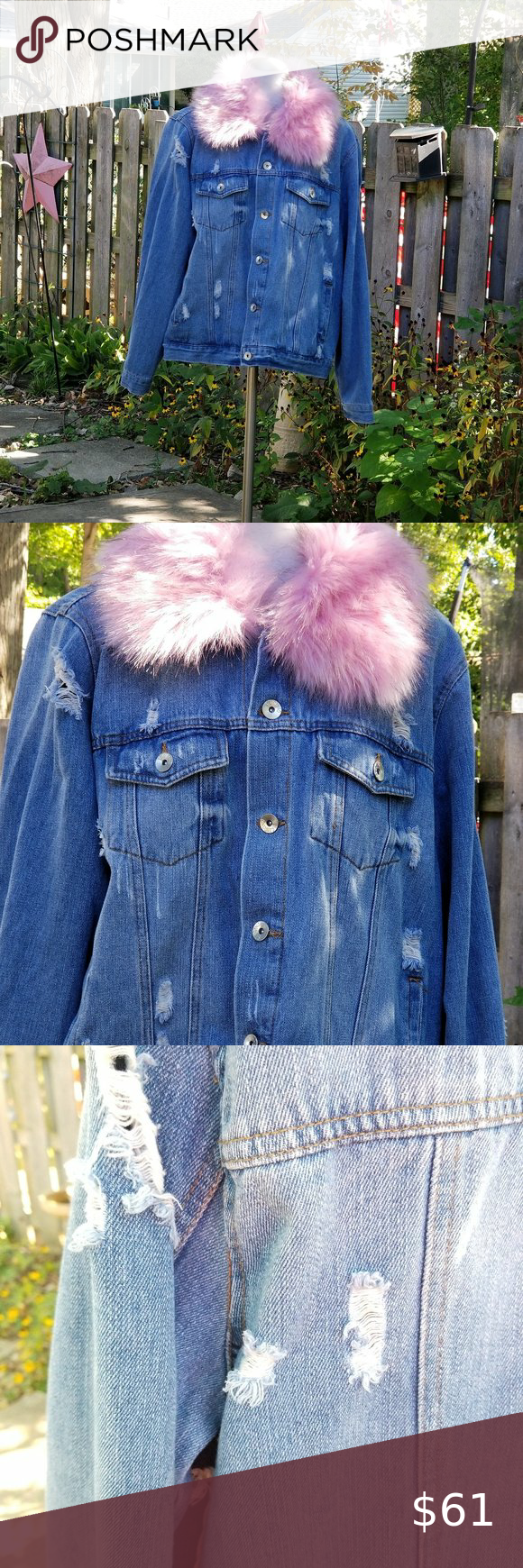 Blue Jean Jacket Pink Fur Collar Ci Sono Xl Blue Jean Jacket Pink Fur Distressed Jean Jacket [ 1740 x 580 Pixel ]
