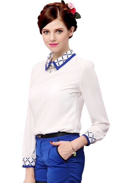 fb7082785fe7d0 Demure White Chiffon Blouse with Peter Pan Collar
