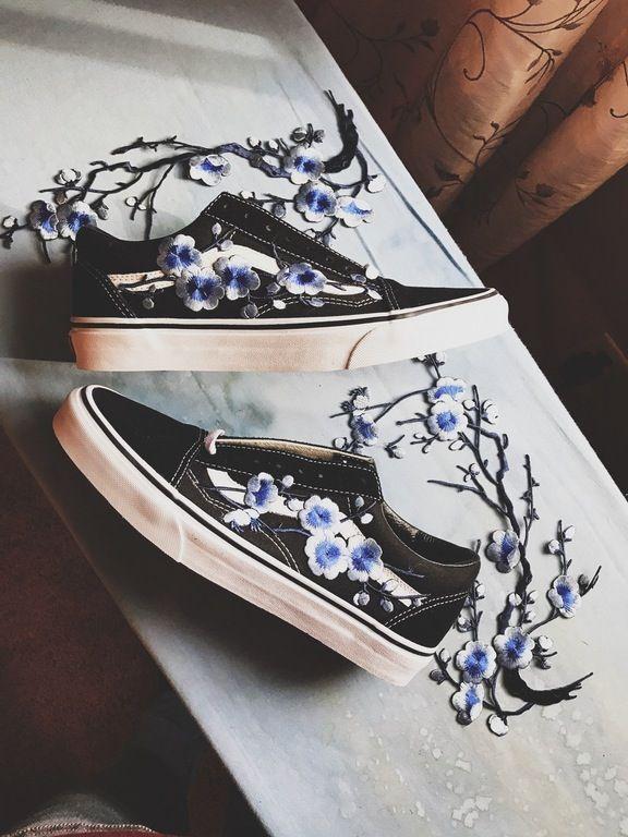 Embroidered vans crafts pinterest floral and