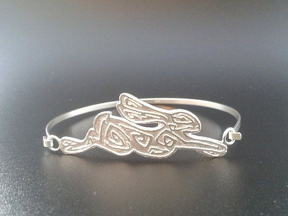Silver hare bangle  Perseus by DesignsfromLucylou on Etsy