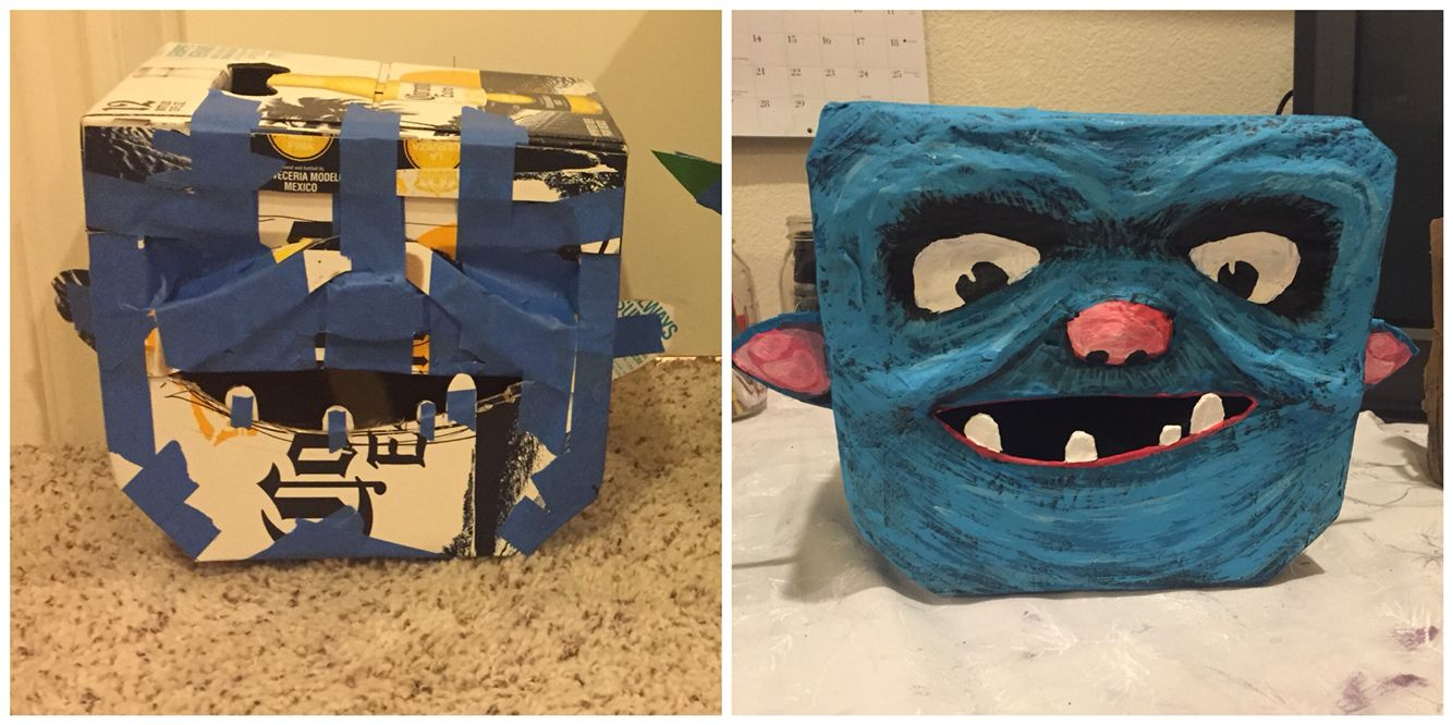 Diy boxtroll costume! Doctored a corona box with scissors