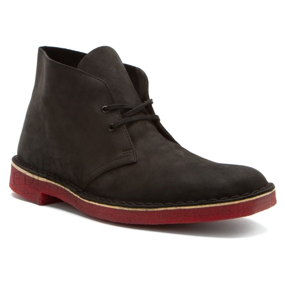 4044b107bc6 Clarks Originals Desert Boot Men s Nubuck Shoes Red Bottom Style 66297 Black