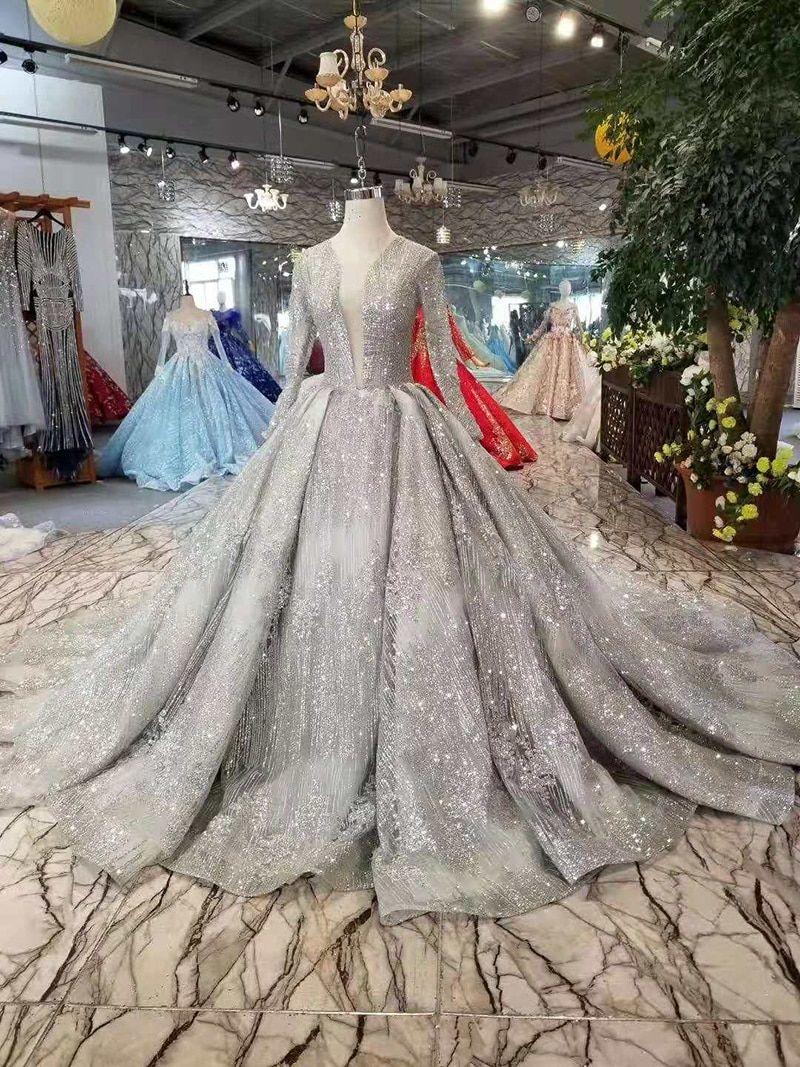 Arabic Silver Grey Glitter Deep V Neck Long Sleeve Wedding Gown Long Sleeve Wedding Gowns Silver Wedding Dress Grey Wedding Dress [ 1067 x 800 Pixel ]