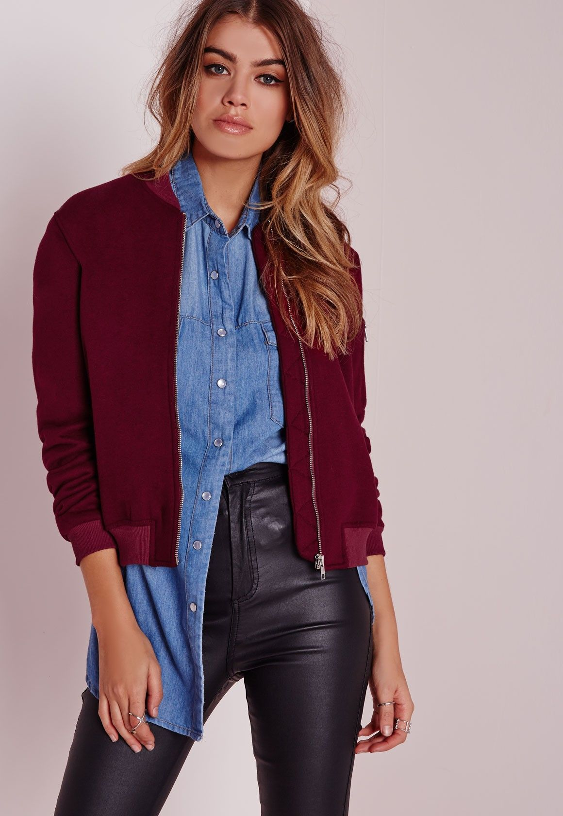 057f36bacf5 Bordeaux baseball jacket with bordeaux leather jeans  We love it! Burgundy  Bomber Jacket