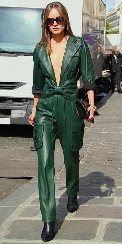 9a581db74a9 Flat Girl struts in a green Leather Jumpsuit by Balmain 2014 ...