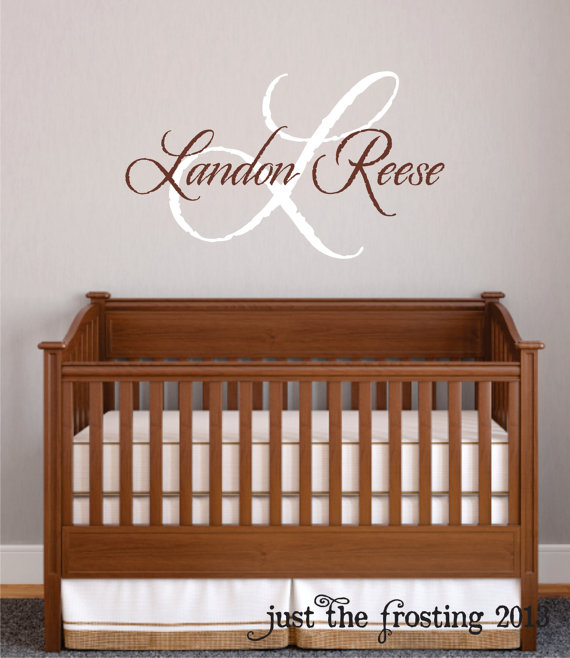 baby boy nursery wall decal - monogram name vinyl lettering