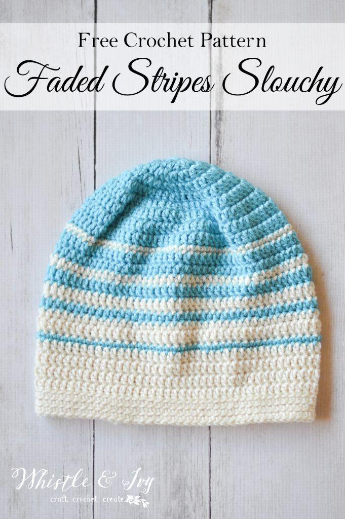 Women\'s Faded Stripes Slouchy Hat Crochet Pattern | Gorros ...