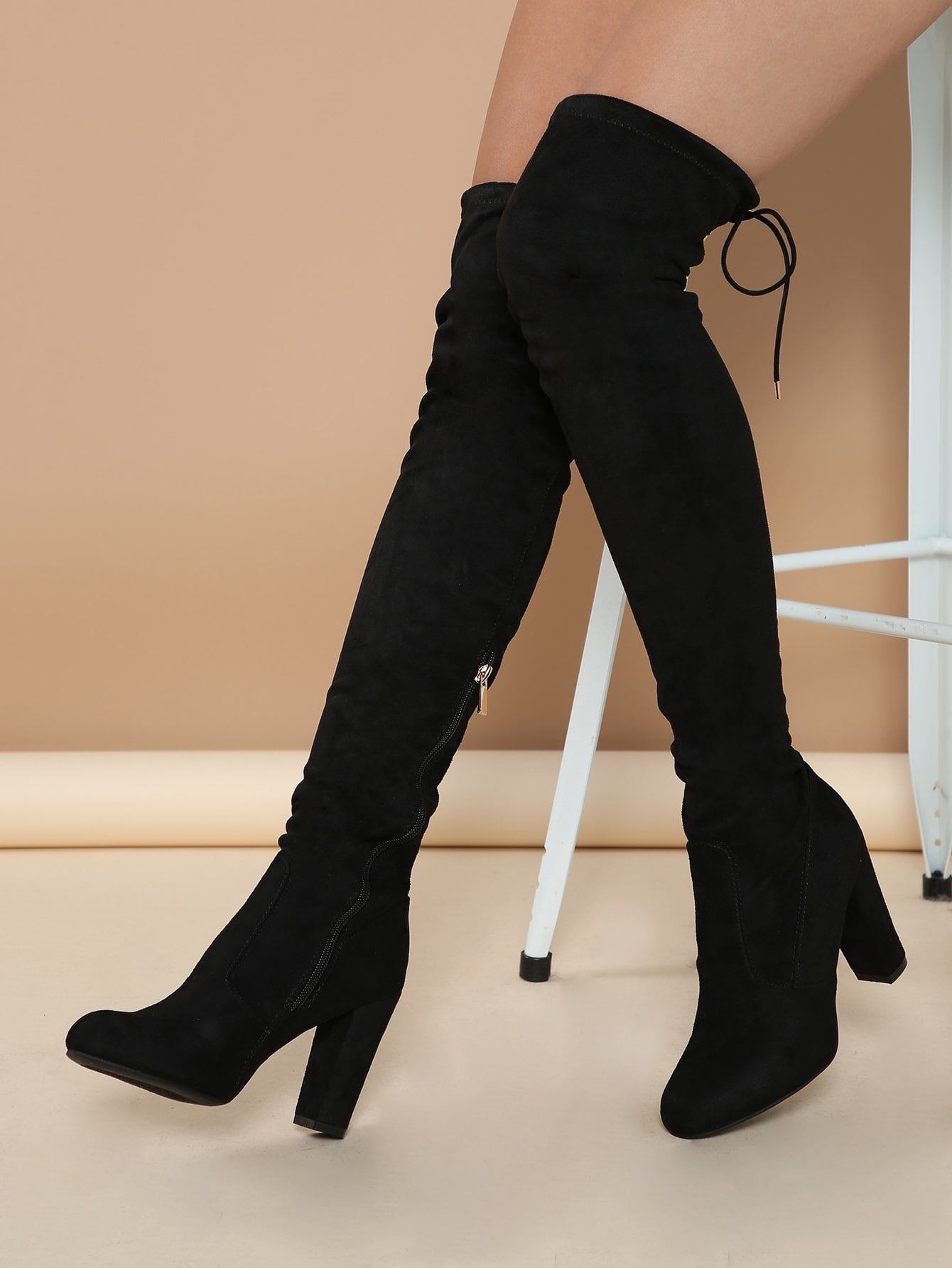 Glamorous Sock Boots Side zipper Black High Heel Chunky Almond Toe Chunky Heel Thigh High Boots 1