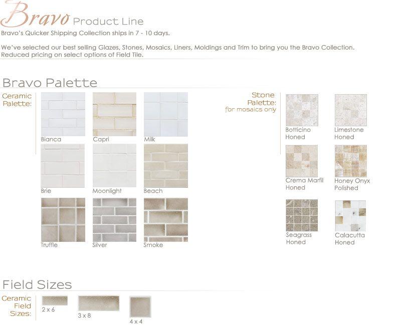 Bravo Product Line Encore Ceramics Back Splash Tile 3x8 Subway In Silver
