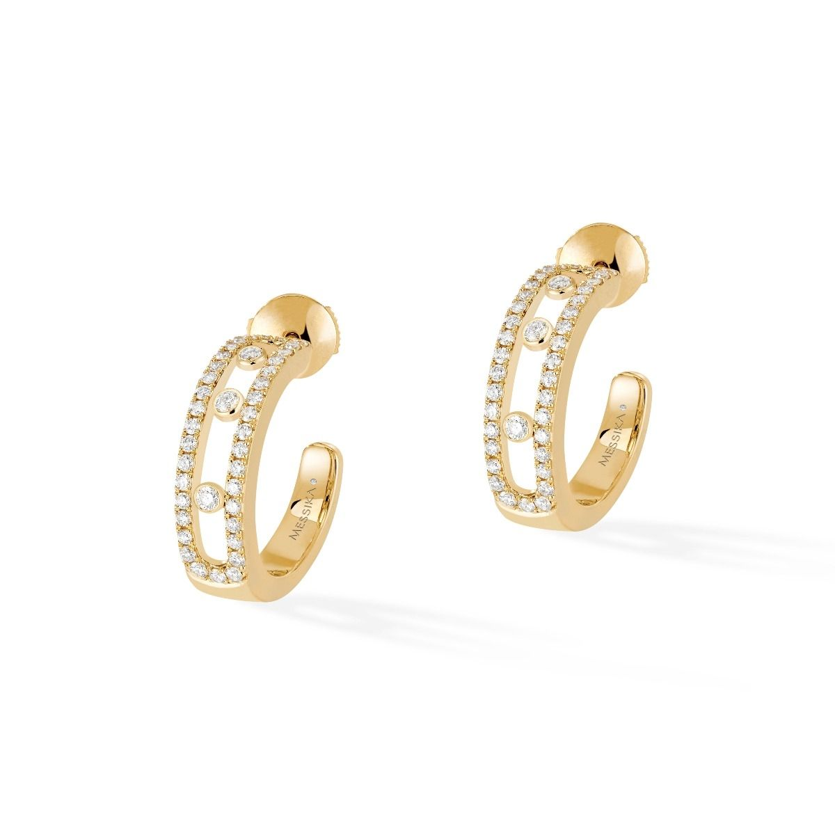 Move pavé hoop diamond earrings in carat pink gold like