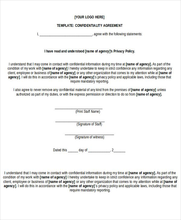 free non disclosure agreement form word pdf documents - agreement in word